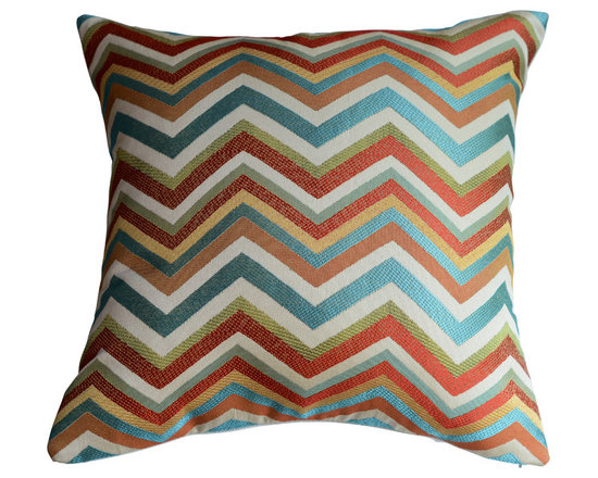 KH Window Fashions, Inc. - Chevron Pillow Cover in Spice-  Red, Green and Ivory, Without Insert - Red, green, ivory, blue chevron pillow. Perfect to toss on your bed or sofa.