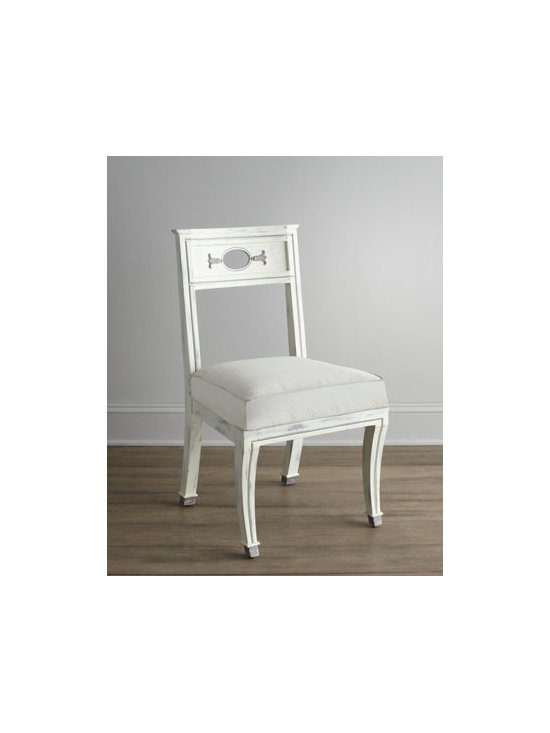 """Florence de Dampierre - Florence de Dampierre """"Chaney"""" Rubbed-White Chair - Pied-de-biche (hoof foot) chair features an oval cut-out on the back flanked by belle-flower carvings and sits on legs finished with delicately painted hooves. From the Florence de Dampierre Collection for John-Richard. Handcrafted of acacia wood wi..."""
