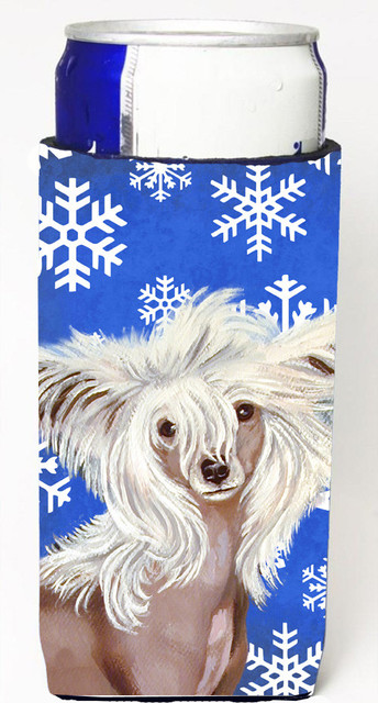Chinese Crested Winter Snowflakes Holiday Michelob Ultra Koozies for slim cans traditional-drink-sleeves