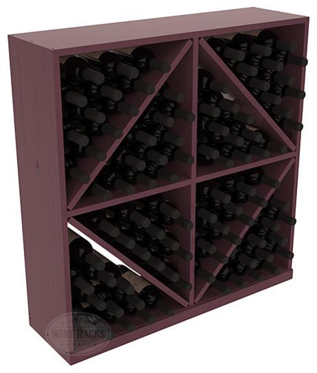 Solid Diamond Wine Storage Bin in Pine, Burgundy + Satin Finish contemporary-wine-racks