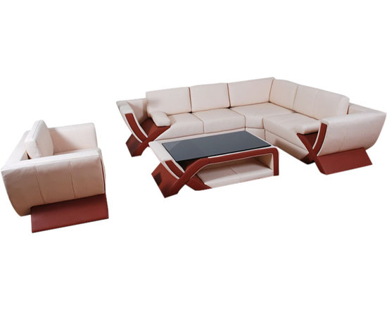 Scene Furniture - Reo Sectional Sofa Set - These contemporary luxury sofas are hand produced with genuine Italian leather and are designed with unique taste in mind. The matching coffee table is available.
