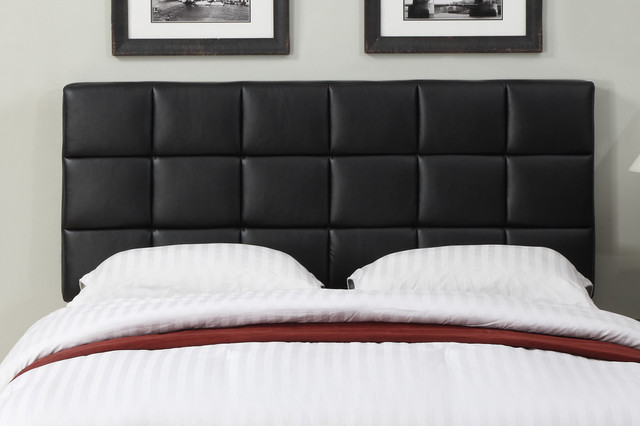 Black Leather Full/ Queen-size Square Tufted Headboard ...