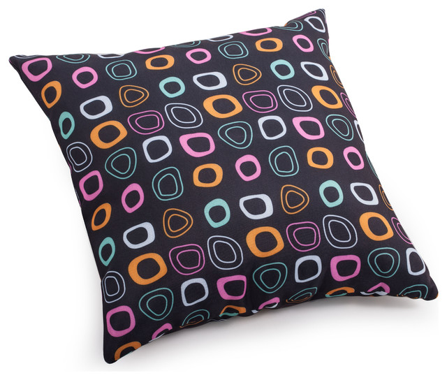 Kitten small pillow chocolate base and mutlicolor pattern