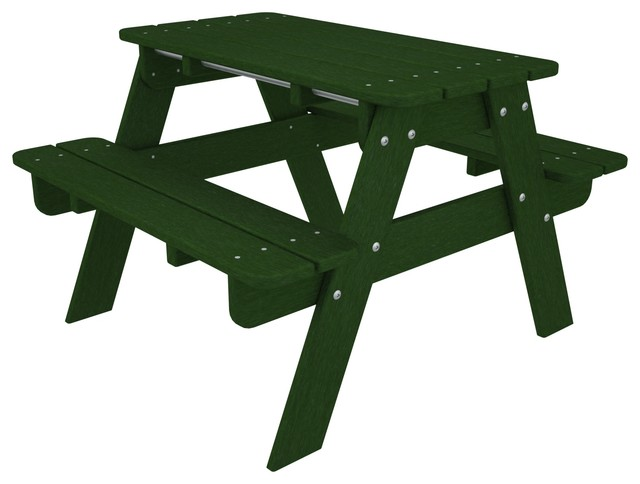 Kid's Picnic Table Green All Weather Outdoor Recycled Plastic Furniture farmhouse-kids-tables-and-chairs