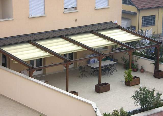 Pergotenda patio awnings with retractable roofs by corradi other metro by corradi outdoor - Types patio roofing ...