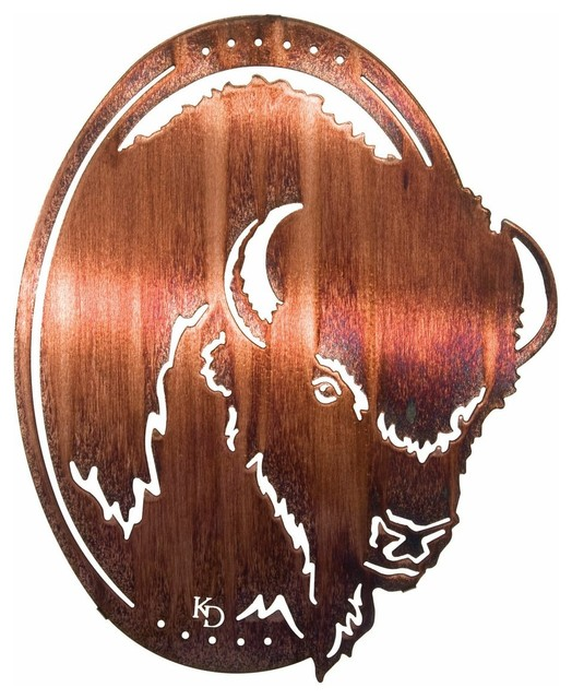 Original breed buffalo oval western metal wall art rustic artwork by mybarnwoodframes - Oval wall decor ...