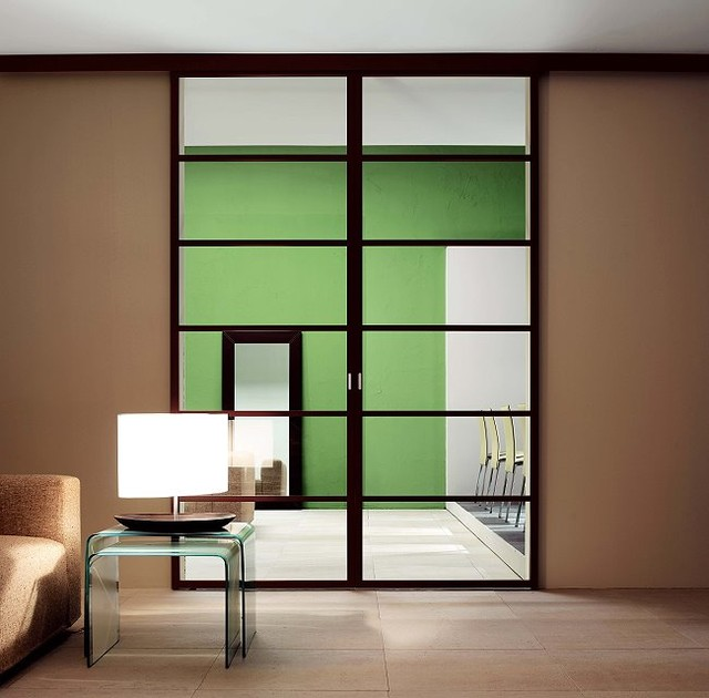 Italian glass doors contemporary living room other Italian garage doors