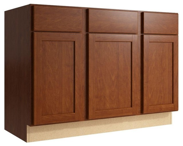 Cardell Cabinets Pallini 48 in. W x 34 in. H Vanity Cabinet Only in Nutmeg - Contemporary ...