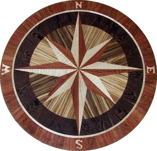 Compass Rose Hardwood Floor Medallion Inlay - Eurybia 01 Style - Floor Medallions And Inlays ...