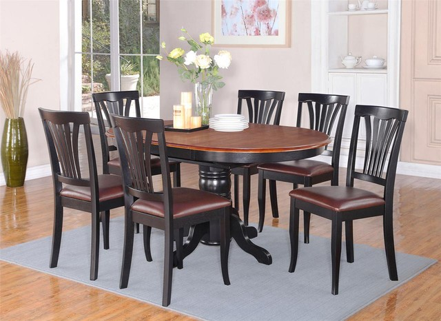 7pc Avon Dinette Kitchen Dining Set Oval Table + 6 Leather Seat Chairs ...