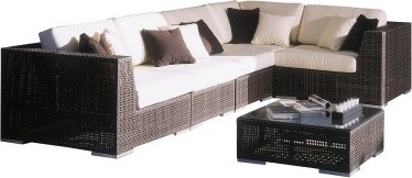 Hospitality Rattan Soho 6 Piece Sectional Set Deep Seating Conversation Set with modern-sectional-sofas