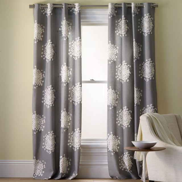 Queen Anne's Lace Printed Panel contemporary curtains
