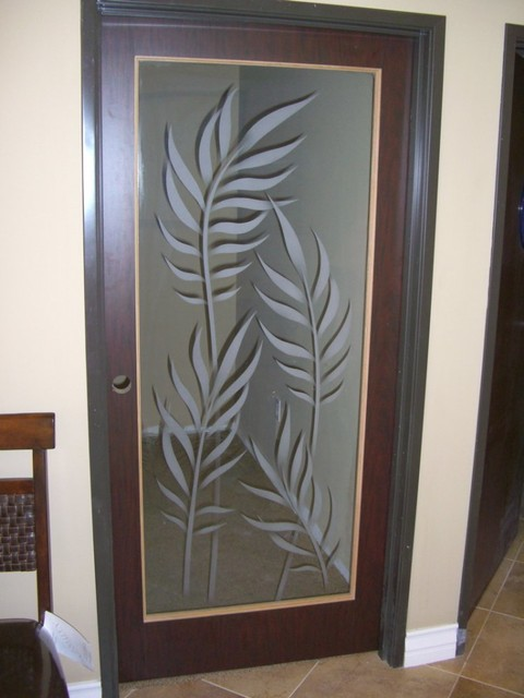 Interior Glass Doors with Obscure Frosted Glass Designs- Ferns 2D - Tropical - other metro - by ...