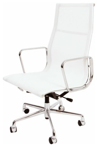 Eames Style High Back Mesh Office Chair, White midcentury-chairs