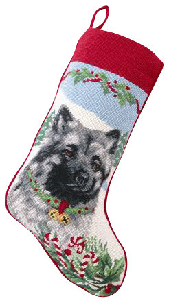Keeshond Needle Point Stocking traditional-holiday-decorations