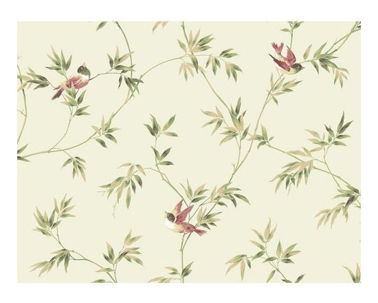 York Wallcoverings - York Wallcoverings YV8935 Orange and Yellow Book Songbirds Wallpaper - Feathery swaying bamboo shoots are just enough to support the weight of visiting jenny wrens in an allover mid-sized vine pattern with a decided Asian flair. A neutral background works perfectly for the organically inspired colorations of neutrals and earthen greens. Made in USA. Completely removable guaranteed.Features: