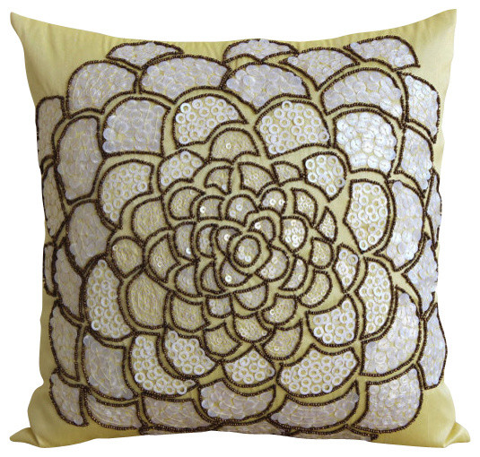 White Wildflower Decorative Yellow Silk Throw Pillow Cover, 24x24 - Tropical - Bed Pillows - by ...