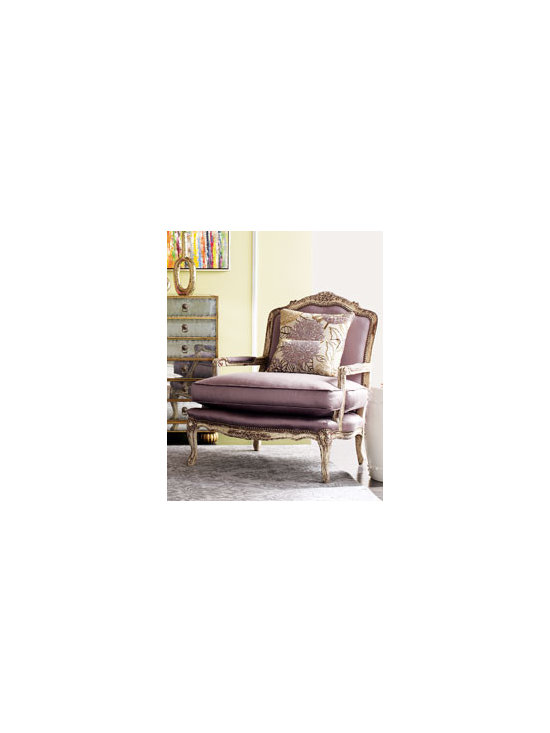 """Olivia"" Chair by Old Hickory Tannery - A sophisticated shade of lavender sets this chair apart from the rest, while a leafy floral pattern on its two pillows provides extra interest."