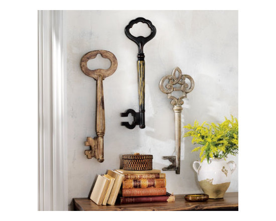 Grandin Road - Set of Three Vintage-inspired Wooden Keys - Solid wood construction. Hand-applied antiqued finish. Use vertically or horizontally. Arrive ready to hang. This Set of Three Vintage-inspired Wooden Keys definitely makes a statement on any wall. The three oversized decorative keys are handcrafted of solid wood with beautiful antiqued finishes in distressed brown, black, and white.  .  .  .  . Due to the handmade nature of these keys, colors may vary.