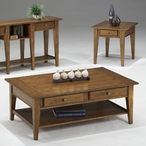 Bernards Oak Plank with Shaker Leg 3 Piece Table Set traditional coffee tables