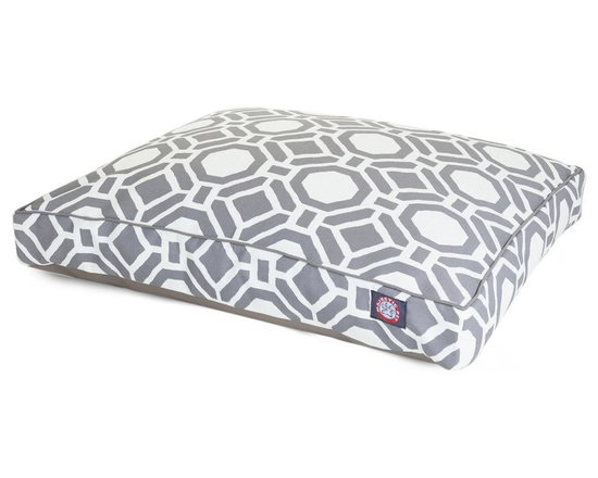 MAJESTIC PET PRODUCTS - Santorini Mosaic Rectangle Pet Bed - This stylish rectangular pet bed looks great in any room of your house and is filled with ultra-plush fiberfill for luxurious napping. The removable zippered slipcover is made from outdoor-treated, UV-protected polyester for durability, and the base is made from heavy-duty waterproof 300/600 denier fabric that can go inside or out. Spot clean the slipcover and hang dry. Comes in a variety of colors and patterns, so you can pick the one that complements your decor.