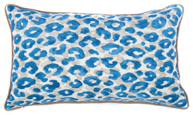 cheetah blue pillow small contemporary decorative