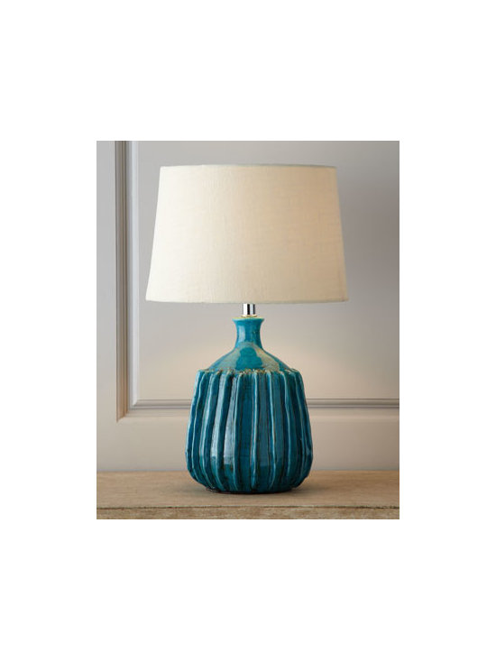 Horchow - Sky-Blue Serrated Ceramic Lamp - We love the dramatic contrast between the rich tone of this lamp's serrated body and its neutral shade. It adds color, texture, and balance to room lighting. And its compact size gives it a low profile useful in smaller spaces. Made of ceramic. Bleach...