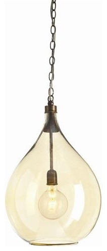 Arteriors Raleigh Glass and Brass Pendant traditional-pendant-lighting