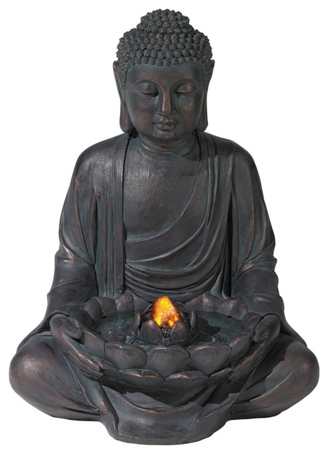 Meditating Aged Bronze Buddha LED Indoor/Outdoor Fountain asian-outdoor-fountains-and-ponds