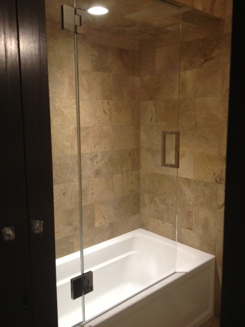 Frameless Shower Door With Splash Panel For Tub Traditional Shower Doors