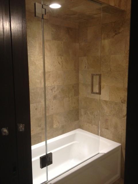 Frameless Shower Door With Splash Panel For Tub Traditional Shower Doors