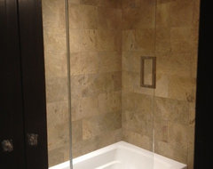 Frameless Shower Door with splash panel for tub traditional showers
