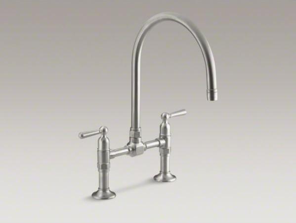 Kohler Hirise Two Hole Deck Mount Bridge Kitchen Sink Faucet With 10 1 4 Goosen Contemporary