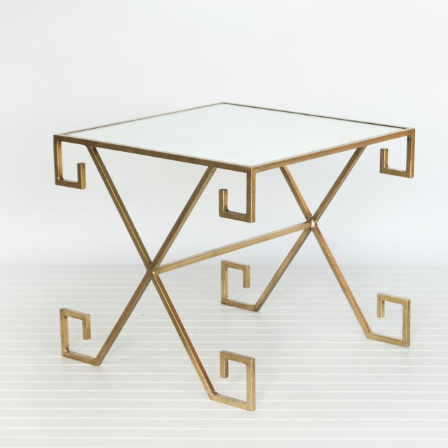 Worlds Away Greek Key Table Gold Leaf With Plain Mirror traditional-side-tables-and-end-tables