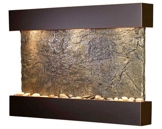 Adagio - Reflection Creek Wall Fountain with Blackened Copper Trim and Green Slate Surfac - Take a moment for quiet reflection with the help of this wall fountain. It draws upon the feng shui principles of stone, metal, glass and water to help balance the energy in your space. Whether placed in a guest bath, living room, spa or even an office waiting room, it has the power to soothe all who enter.