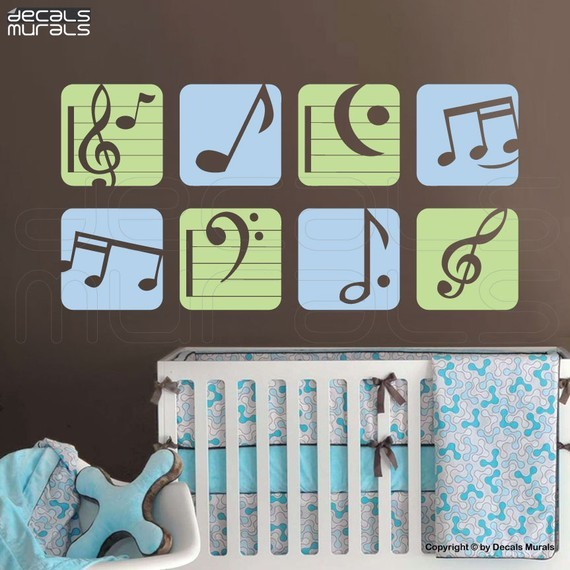 Colorful Music Notes Vinyl Art Stickers By decals murals contemporary-wall-decals