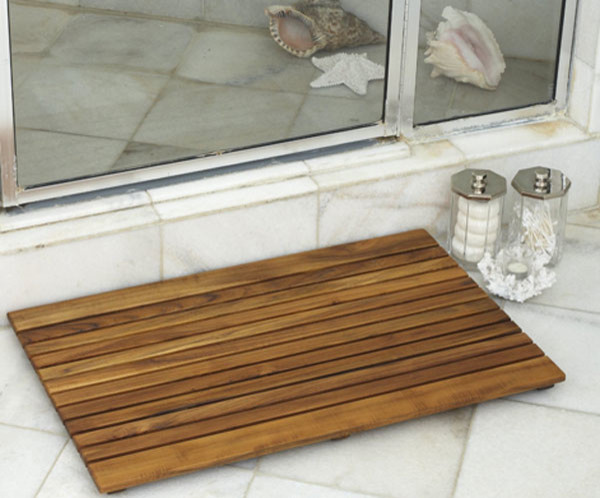 bathroom and shower teak wood mats tropical