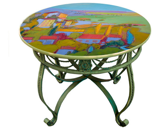 """Hand Painted Dining Table Top, 36"""", Provence Cottage design -"""