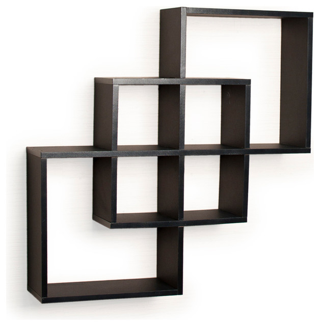Intersecting Squares Decorative Wall Shelf Black Contemporary Display And Wall Shelves