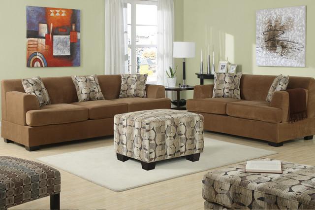 Modern Tan Velvet Sofa Couch Loveseat Pillows Living Room