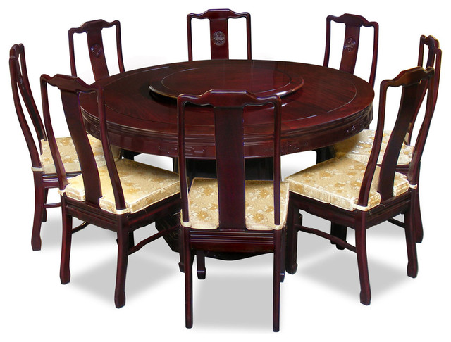 60in rosewood longevity design round dining table with 8 for Oriental dining table