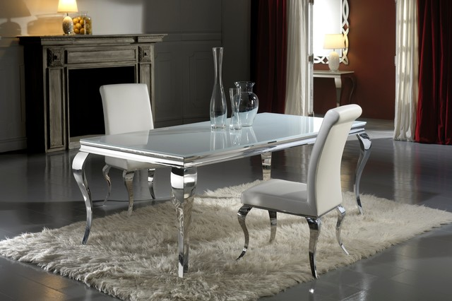louis white glass dining table and chair set modern dining room