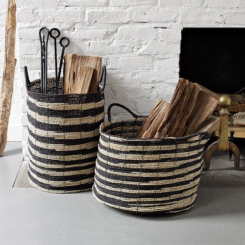 pastoral logs inside elegant wicker baskets