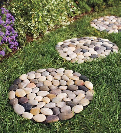 River rock stepping stones outdoor products by plow for Rock stepping stones landscaping