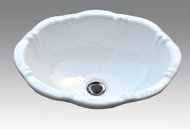 White china drop in sink Traditional Bathroom Sinks