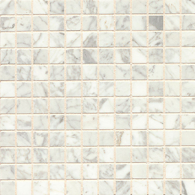 White Carrara Marble Mosaic Polished Tiles Box Of 10 Sheets Contemporary Tile By