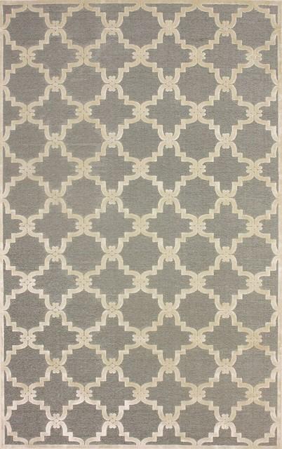 """Contemporary Light Grey Machine Made Area Rug Trellis VL01, Light Grey, 7' 7"""" X contemporary-rugs"""