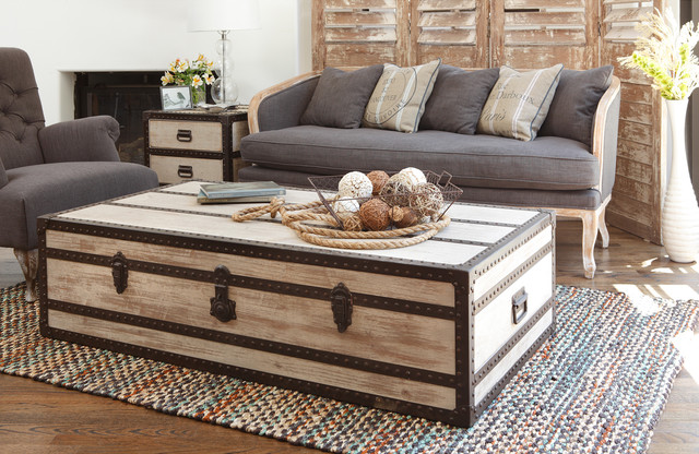 Distressed Pine Wood Coffee Table Contemporary Coffee Tables