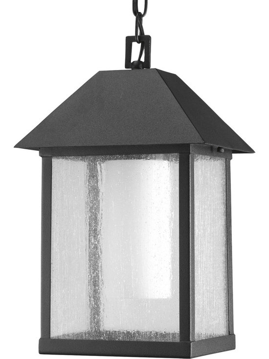 Progress Lighting - Progress Lighting P5525-31 Domino One-Light Hanging Lantern in Black - 1-light medium hanging lantern with streamlined clear glass cage that encases opal etched glass cylinder. The marriage of black and white creates a timeless styling.