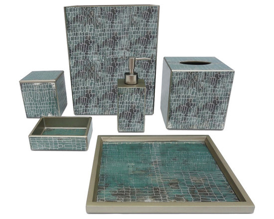 Waylande Gregory Aqua Crackle Bathroom Set - Give your bathroom the spa makeover it deserves with this exquisite set of bathroom accessories. Each piece is done in a soothing aqua hue and features a rustic yet refined crackle finish that adds to the allure. Purchase a few pieces individually to make a modest impact in your powder room or commit to the entire set to really transform your space.